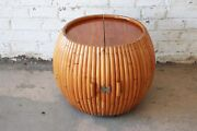 Vintage Mid-century Modern Bamboo Dry Bar End Table