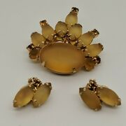 Vintage Unsigned Frosted Yellow And Topaz Colored Rhinestone Brooch And Earrings