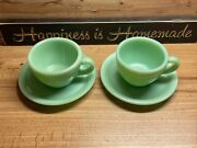 2 Pc Lot Fire King Jadeite Thick Restaurant C Handle Cup And Open Ring Saucer