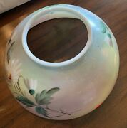 Antique 13.5opaque Glass Kerosene Dome Lamp Shade Hand Painted Great Shape