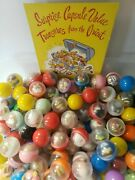 Vintage Surprise Charms Toys Vending Gumball Machine Capsules Lot Of 6 276