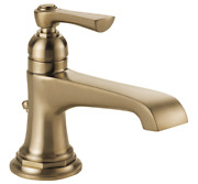 Brizo Rook 1.2 Gpm Single Hole Bathroom Faucet, Pop-up Drain Assembly, Luxe Gold
