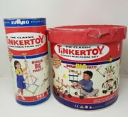 Vintage Tinker Toys Wooden Wheels Sticks And More 1970's Tins Included