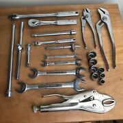 Vintage Craftsman Tools Lot Of 22 Wrenches And Socket Wrenches Mechanics Lot Usa