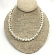 Vintage Quality Glass Pearl Choker Necklace, Fish Hook Clasp, Costume Jewelry