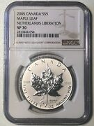 Canada 2005 5 Sp70 Coin - Netherlands Liberation Tulip Privy Maple Leaf