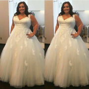 Plus Size V Neck Sleeveless Lace Tulle A-line Wedding Dresses Bridal Gowns