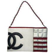 American Flag Canvas And Leather Pochette