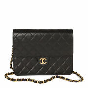 Black Quilted Lambskin Leather Vintage Small Classic Single Flap Bag...