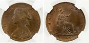 Uk - Great Britain 1/2 Penny 1860 Beaded Borders On Obv And Rev Ngc Ms64 Rarep