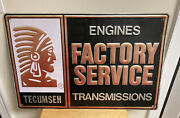 Lg Vtg Indian Tecumseh Factory Service Engines Transmissions Embossed Metal Sign