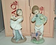 1987-91 Nao By Lladro Boy On The Phone Ballerina 7 Figurines Mint Box Lot Of 2