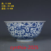 8.0 Old China Antique Ming Dynasty Chenghua Blue And White Dragon Pattern Big Bowl