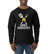Funny Grilling Bbq Cook Master Grill Sergeant Aprons Mens Long Sleeve Shirt