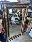 Antique Victorian Gold Gesso And Oak Wooden Picture Frame And Beveled Mirror. 28x50