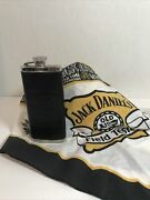 Jack Daniels Old No. 7 Tennessee Whiskey Flask 5oz Leather Stainless S And Scarf