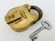 Lock Old Vintage Solid Brass Big Size Padlock With Key 6 Levers Star Aligarh