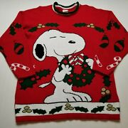 Vtg Snoopy And Friends Christmas Sweater Mens L Peanuts Wreath Dog Usa 90s Z75