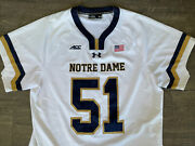 Authentic Game Worn Notre Dame Irish Lacrosse Pat Kavanagh 51 White Jersey Pll