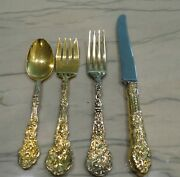 Sterling Silver Gorham Gold Plated Versailles 4 Piece Place Setting Nm