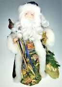 16andrdquo Santa Claus Father Christmas Tree Topper Blue Coat Centerpiece Holiday Decor