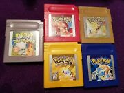Pokemon Red Blue Yellow Gold Version, Kirby Gameboy Game Lot Authentic