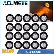 20× Amber/clear 2 Round 9 Led Truck Side Marker Light Clearance Lamp Waterproof
