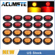 10red+10amber 2 Round 9 Led Truck Side Marker Lights Clearance Lamps Waterproof