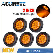 5× Amber 2 Round 9 Led Truck Side Marker Lights Clearance Lamps Waterproof New
