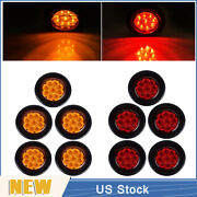 5 Red+5 Amber 2 Round 9 Led Truck Side Marker Lights Clearance Lamps Waterproof