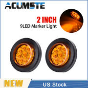 2× Amber 2 Round 9 Led Truck Side Marker Lights Clearance Lamps Waterproof New