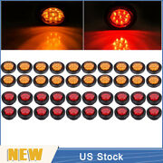 20red+20amber 2 Round 9 Led Truck Side Marker Lights Clearance Lamps Waterproof