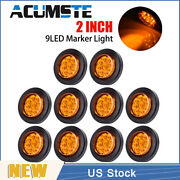 10× Amber 2 Round 9 Led Truck Side Marker Lights Clearance Lamps Waterproof New