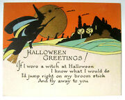 Vintage Halloween Rust Craft Greeting Card Bats Witch Jols Gold Accents 1920