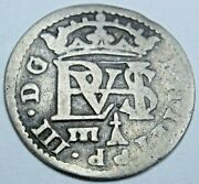 1621 Spanish Segovia Silver 1/2 Reales Antique 1600's Colonial Pirate Cross Coin