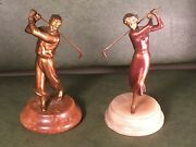 Rare Art Deco Antique Golf Figural Spelter Painted And Marble Base Lady Man Golfer
