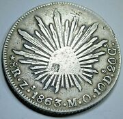 1863 Chopmarks Mexico Silver 8 Reales Antique 1800's Dollar Counterstamp Coin