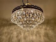 Antique French Crystal Chandelier Vintage Crystal Fixtures Lamp Lighting 1950and039s