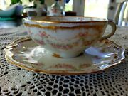Haviland Limoges Schleiger 842 Pink Roses Bows Ribbons Double Gold Cup And Sauce