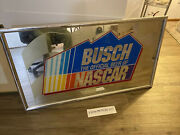 Vintage 90and039s Nascar Racing Busch Beer Mirror Sign 24x42 Checker Flag 8154