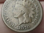 1870 Indian Head Cent Penny- Bold N, Vg/fine Details
