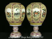 14.4 Marked Chinese Colour Enamels Porcelain 8 Horse Chimney Statue Pair