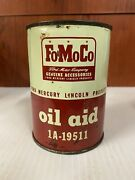 Vtg Ford Fomoco Oil Aid Tin Can Full Gas Oil Sign Garage Advertising 1940's-50's