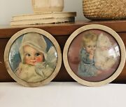 Vintage Antique Baby Picture Smiling Infant Painted W/ Round Glass No Frame 6