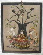 Vintage Sidi Baba African Sand, Beads And Cloth Painting