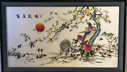 Monumental Vtg 20th Century Framed Chinese Silk Embroidery A Hundred Birds Panel