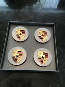 Set Of 4 Oem-preowned Porsche Silver Color Concave Center Caps 77 Mm Or 3.0 In