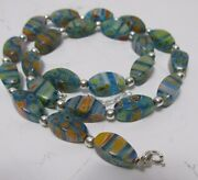 Murano Glass Millefiori Bead Necklace Oval Flower Beads And Sterling Silver 18-21
