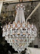 Antique Vintage Brass And Crystals French Giant Elegant Chandelier Ceiling Lamp Rr