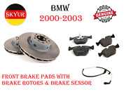 Front Left And Right Brake Disc Rotors With Brake Pads And Senor For 00-03 Bmw M5